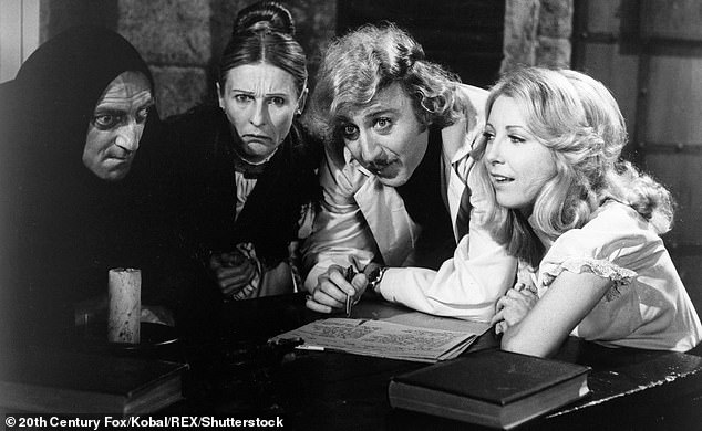 Big screen: She also did three films with Mel Brooks starting with Young Frankenstein in which she is pictured with Marty Feldman, Gene Wilder and Teri Garr
