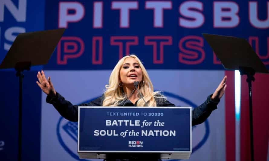 Lady Gaga speaks during a Biden rally in Pittsburgh, Pennsylvania, on 2 November 2020.