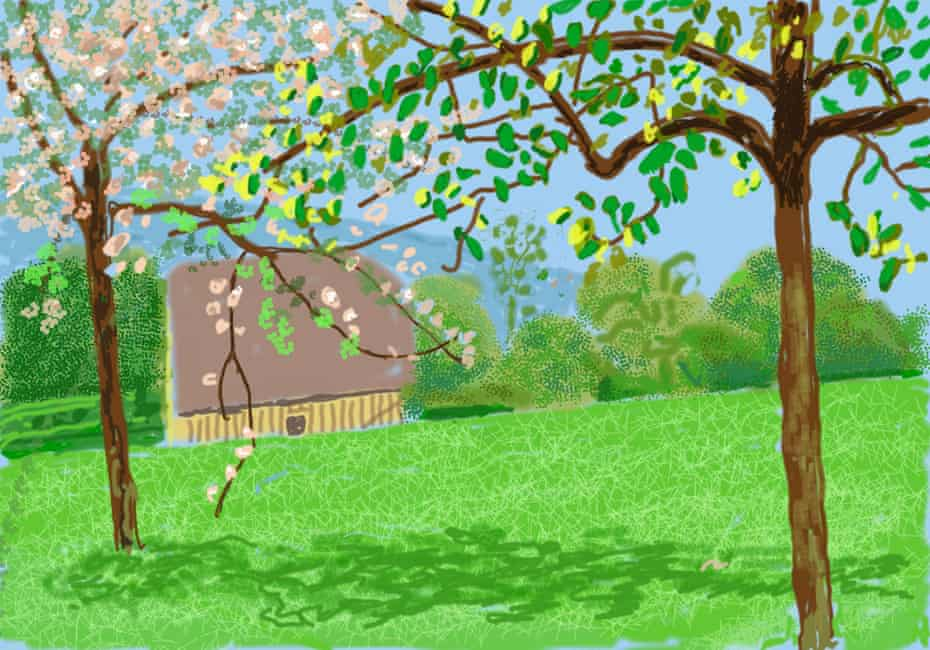 No 241, 23rd April 2020, from the Royal Academy show David Hockney: The Arrival of Spring, Normandy, 2020.