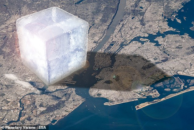 The accelerating melt — which continues to get worse — has been driven largely by steep increases in losses from the polar ice sheets in Antarctica and Greenland. Pictured: an artist's impression of a 1 trillion tonne cube of ice — each face 10 km wide — looming over New York City. The Earth's glaciers and ice sheets have lost 28 times this amount since the early nineties