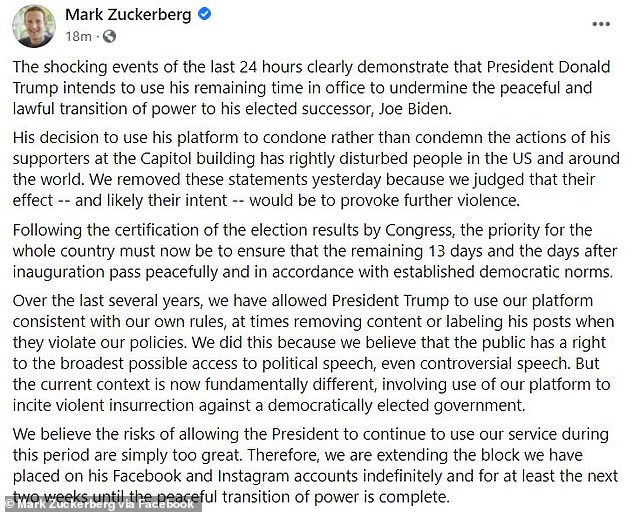 In an extraordinary post, Zuckerberg accused Trump of using Facebook 'to incite violent insurrection against a democratically elected government'
