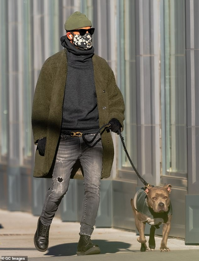 Downtown style: The Mulholland Drive actor has been seen with the pup on numerous occasions as he continues to display his hip style choices; pictured January 6