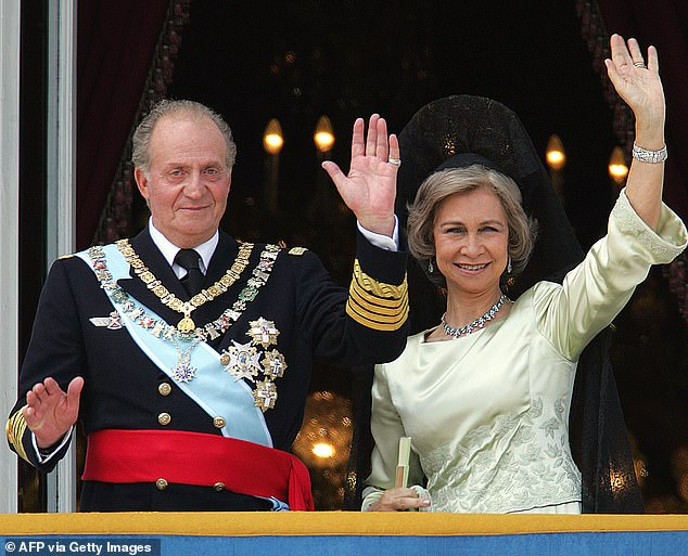 Juan Carlos, who is married to Queen Sofia, 81, left Spain in August after it was claimed he allegedly received millions of euros from Saudi Arabia 's late King Abdullah. Pictured,Juan Carlos and Sofia in 2004