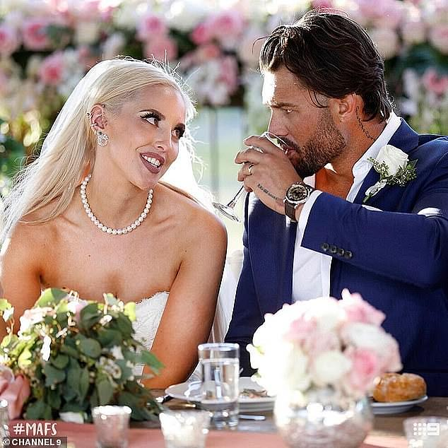 Debut: Elizabeth first appeared on Married At First Sight in 2019, tying the knot with tradesman Sam Ball (right)