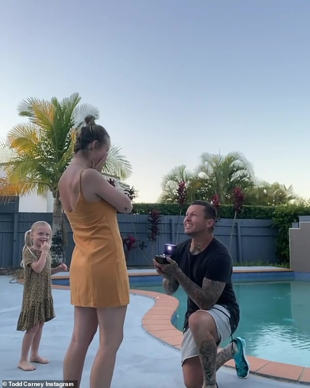 Engaged: It's been a busy year for the couple, who are not only celebrating their baby joy, but also the fact they secretly got engaged earlier in the year