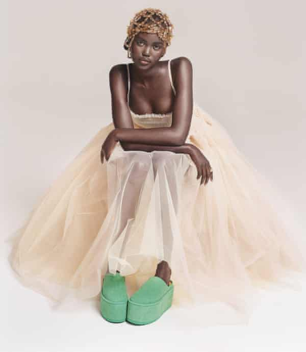 Golden moment: tulle dress and green flatforms by mollygoddard.com; ring by Vintage Mercedes-Benz jewellery.