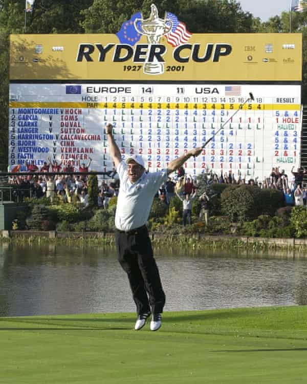 Paul McGinley celebrates his winning putt at the 2002 Ryder Cup at the Belfry