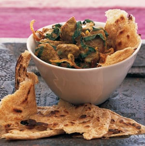 Mughlai lamb with spinach.