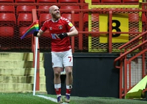 Jonny Williams celebrates scoring for Charlton in their 5-2 victory over AFC Wimbledon on 12 December