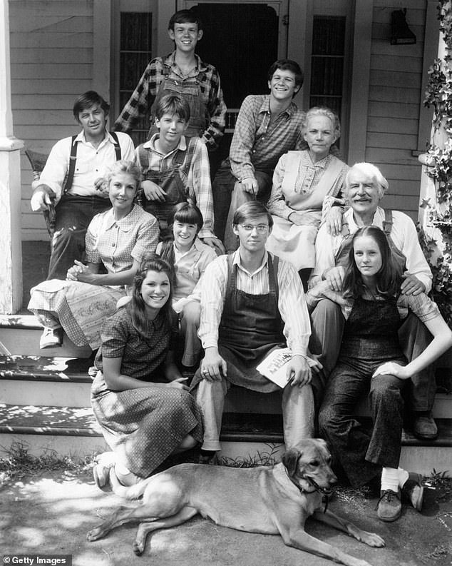 Long time running: The Waltons aired for nine seasons between 1972 and 1981 on CBS; the cast is seen together in a promotional portrait in 1975