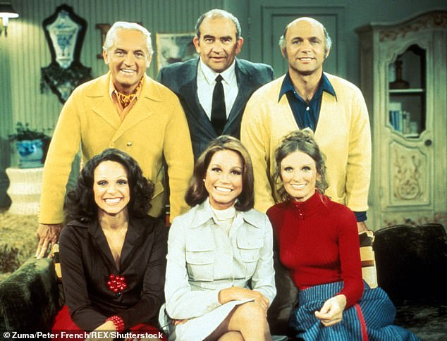 The Mary Tyler Moore Show: Mary Tyler Moore, Edward Asner, Ted Knight, Gavin Macleod, Valerie Harper & Cloris Leachman pictured on set of theMary Tyler Moore Show in 1974