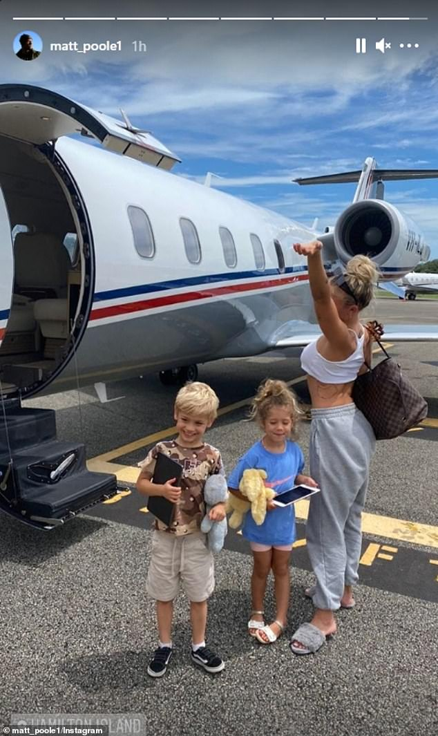 Time for a break: Upon landing, Matt shared a photo of Tammy and her two children - Wolf (left), five, and Saskia (centre), three