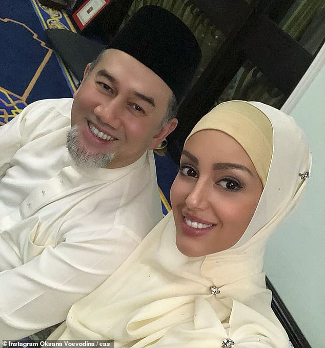 Oksana Voevodina with her then husband, Sultan Muhammad V of Kelantan. The couple were married in a low-key Islamic ceremony in Malaysia in June 2018