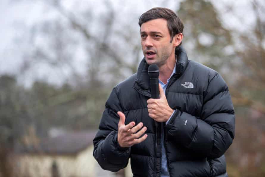 Jon Ossoff speaks to supporters in Stone Mountain, Georgia, on 2 January.