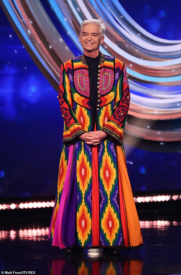Casual:In honour of Musicals Week, host and former West End star Phillip Schofield donned his famous coat of many colours from his stint as Joseph in the show Joseph and the Amazing Technicolor Dreamcoat