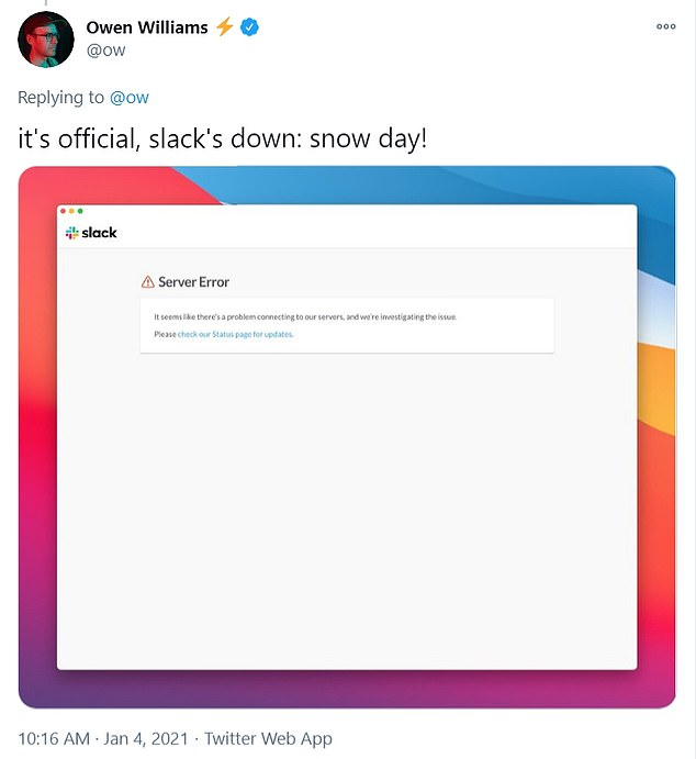 Users have shared hilarious tweets on Twitter about Slack not working, saying it is a snow day because they cannot work without the communication platform