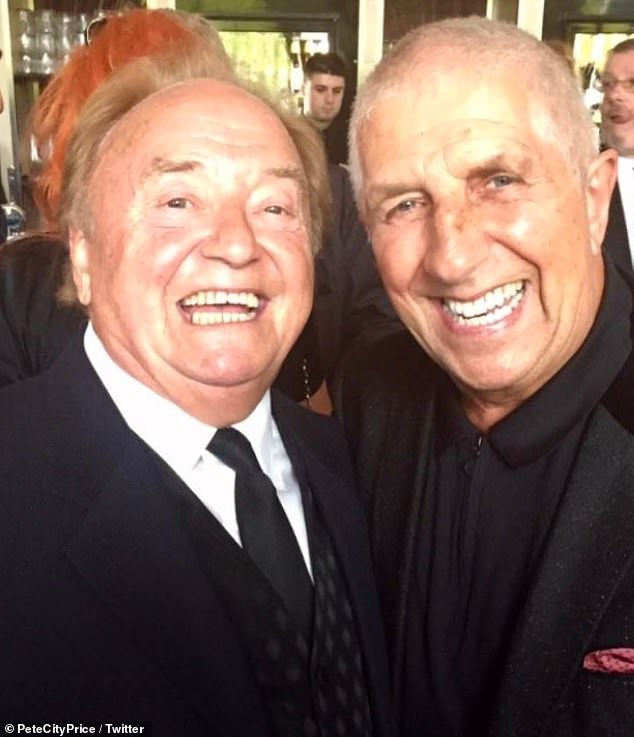 Heavy heart:The news was broken by Gerry's friend, radio host Pete Price, who shared a photograph of the pair together [Pete, 74, pictured R]