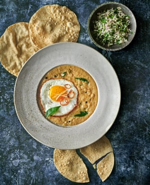 Crispy fried eggs with coconut curry and coriander sambol by Ravinder Bhogal. Food styling: Livia Abraham. Prop styling: Pene Parker.