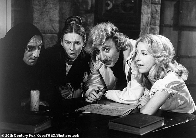 Iconic:Referencing to her character in Young Frankenstein, Brooks noted that 'every time [he] hear a horse whinny [he] will forever think of Cloris' unforgettable Frau Blücher';Marty Feldman, Cloris Leachman, Gene Wilder, and Teri Garr in Young Frankenstein
