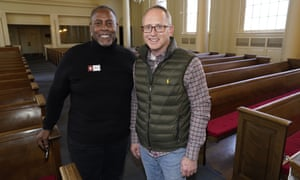Morris Price Jr., left, moderator at First Baptist Church of Denver, with Minister Brian Henderson in the church across from the State Capitol.