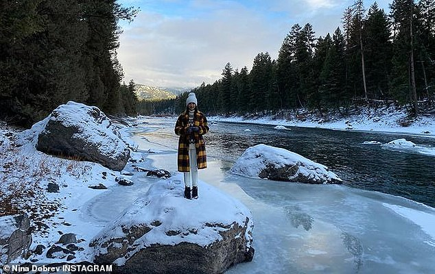 Time of the season: The actress has been enjoying her time in the Treasure State, and captioned her most recent photo set with 'Winter wonderland'