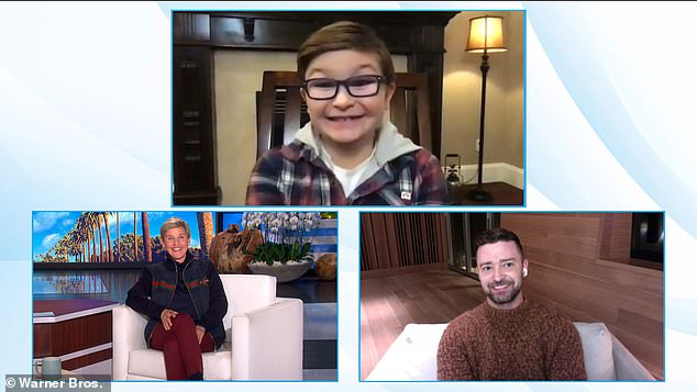 Squad:He was joined on the chat show appearance with his eight-year-old Palmer co-star Ryder Allen