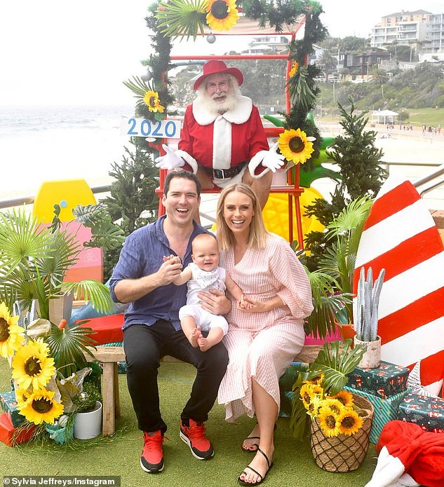 Their story: Peter and Sylvia married in 2017 in the idyllic Kangaroo Valley, in NSW. Pictured at Christmas with Oscar