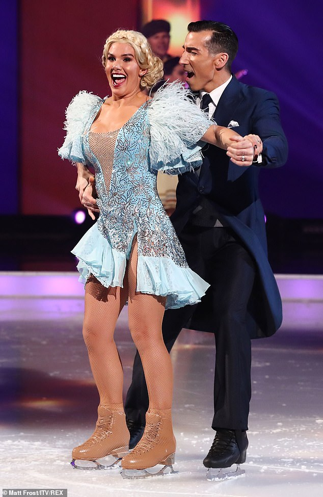 Look at her go:Up next was Rebekah Vardy and partner Andy, who performed the song Let's Face The Music and Dance from Follow The Fleet