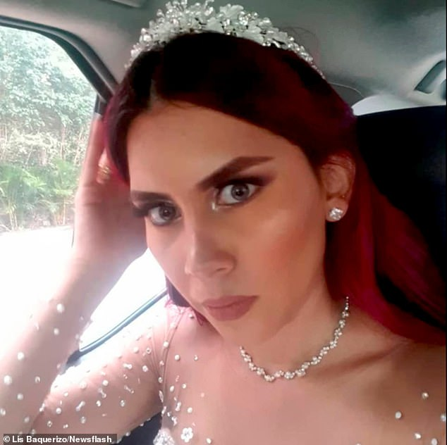However, the Lisbeth's mother Kathy became suspicious when she noticed an injury on Luis's eye at the wake which he claimed occurred during a mugging attempt. Pictured: Lisbeth on her wedding day