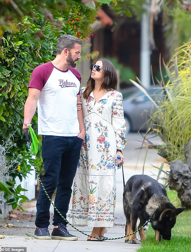 'Ben has become obsessed with them,' she gushed of her former costar's affinity for the slogan tees. 'Every time we go, he buys the whole store' (Affleck seen wearing a Habana t-shirt in June)