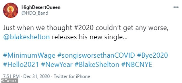 Opinions:Many people slammed the song because of the lyric being sung by Blake, a multi-millionaire, during the COVID-19 pandemic with many Americans without a job and countless business shut down