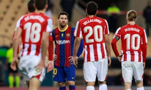 Lionel Messi reacts to the red card in Barcelona's game against Athletic Bilbao that means he is suspended.