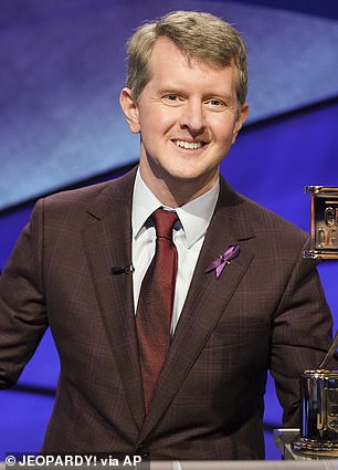 Behind the podium: Katie will succeed the game show's first guest host to take over after Alex Trebek's death, Greatest of All Time player, Ken Jennings
