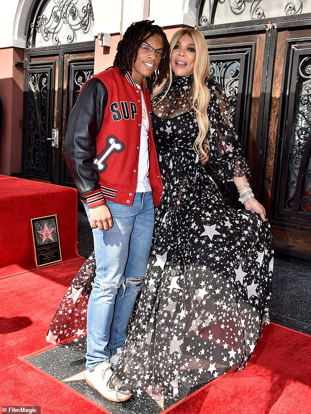 A good mom: Wendy and son Kevin Hunter Jr. attend the ceremony honoring Williams with Star on the Hollywood Walk of Fame in 2019