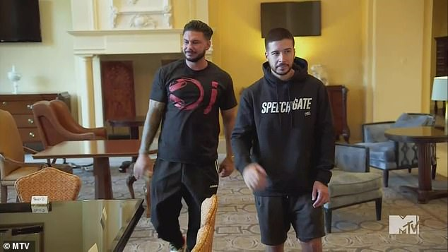 Dinner mission:Vinny Guadagnino, 33, and DJ Pauly D, 40, took Deena and her husband Chris to dinner, pretending that they really wanted to celebrate the second anniversary of their 'bro-mittment' as best buds