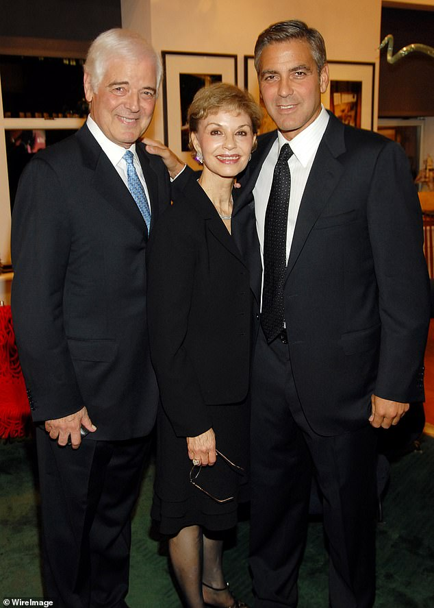 His parents: The Oscar winner also said he is missing his father, 87-year-old journalist, anchorman, and television host Nick Clooney, he told the Los Angeles Times. 'My father's 87 years old and lives in Kentucky. So I miss being with my family,' said the Casamigos founder. Also seen is mom Nina in this 2006 image