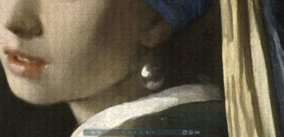 The 3D microscope took 9,000 images of the painting and focused on 10 key areas such as the pear earing