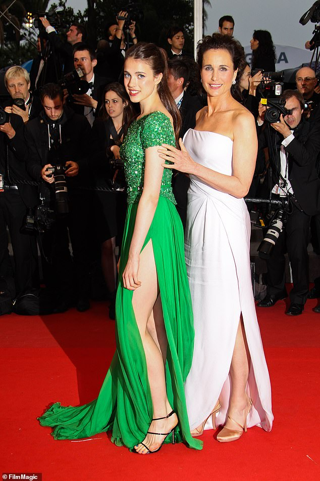 Mom and daughter:Andie was 'keeping an extremely close watch on the situation,' an US Weekly source revealed in December. 'If Shia so much as puts a foot out of line, she'll come down on him like a ton of bricks;' Margaret with her mom Andie on May 27, 2012 at Cannes