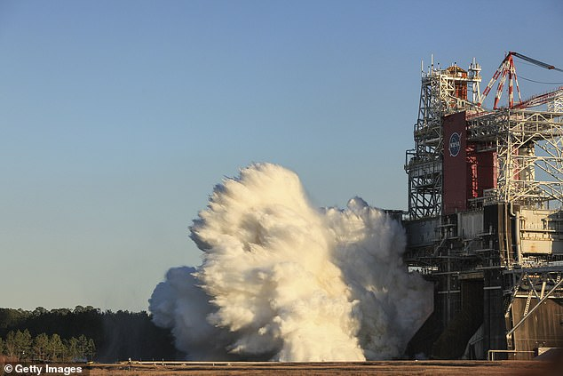 SLS programme manager John Honeycutt said during a press conference that the core stage and RS-25 engines 'performed perfectly' during thetest (pictured) , BBC News reported