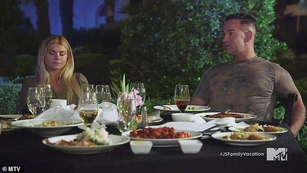 Separate dinner:Mike, his wife Lauren, 36, and Ronnie, 35, dined with Angelina, and had a fun yet salty discussion about explicit photos people sent them