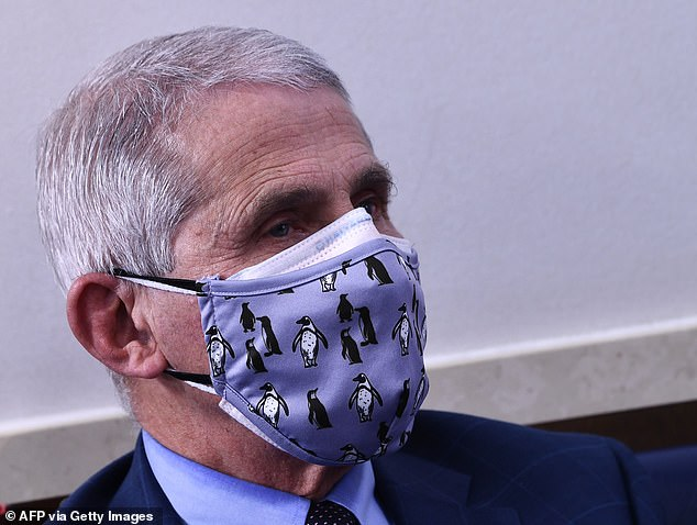 Double-masking, such as endorsed by Dr Anthony Fauci, can make it harder to breathe and increases the risk of fiddling with one of the masks, experts say. Pictured: Fauci wearing two masks at a White House press briefing, January 3