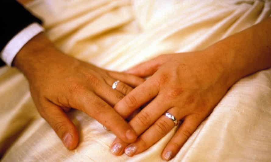 Bride and groom, hands and rings