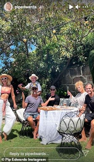 Celebration: Pip's boyfriend, retired Australian cricket captain Michael Clarke (centre, in the black T-shirt), was among the guests