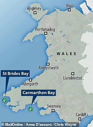 Sites being considered for the first farms are Carmarthen Bay and St Brides Bay in Pembrokeshire, South Wales (pictured) ¿ along with areas around the coastlines of Cornwall, Devon, Yorkshire and around Scotland