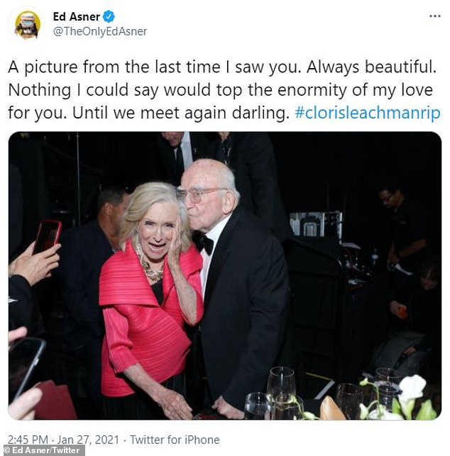 Their last hangout:Ed Asner paid tribute to his longtime friend by uploading a sweet snapshot from 'the last time [he] saw [Cloris]'