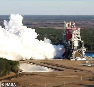 'We've learned from the data that the shutdown did occur as the result of a couple of test parameters we had set on the hydraulic system that's powered by the core stage auxiliary power units,' Mr Honeycutt continued. Pictured: the test of the four RS-25 engines