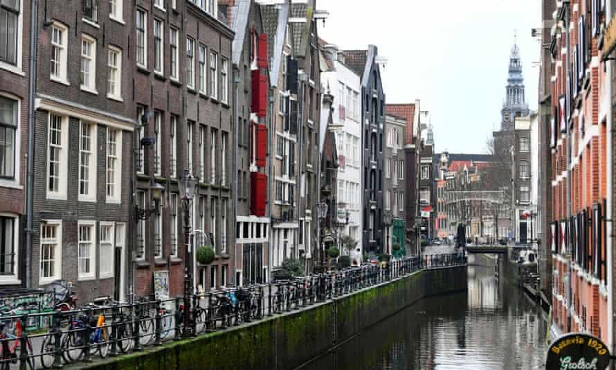 An empty street in Amsterdam, Netherlands.
