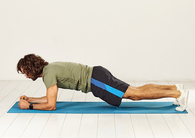 Start this exercise by holding yourself up in the push-up position and lower your body