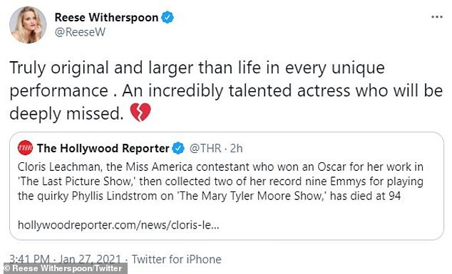 Deeply missed:'Truly original and larger than life in every unique performance. An incredibly talented actress who will be deeply missed,' wrote Reese Witherspoon, 44, who shared her homage to Twitter