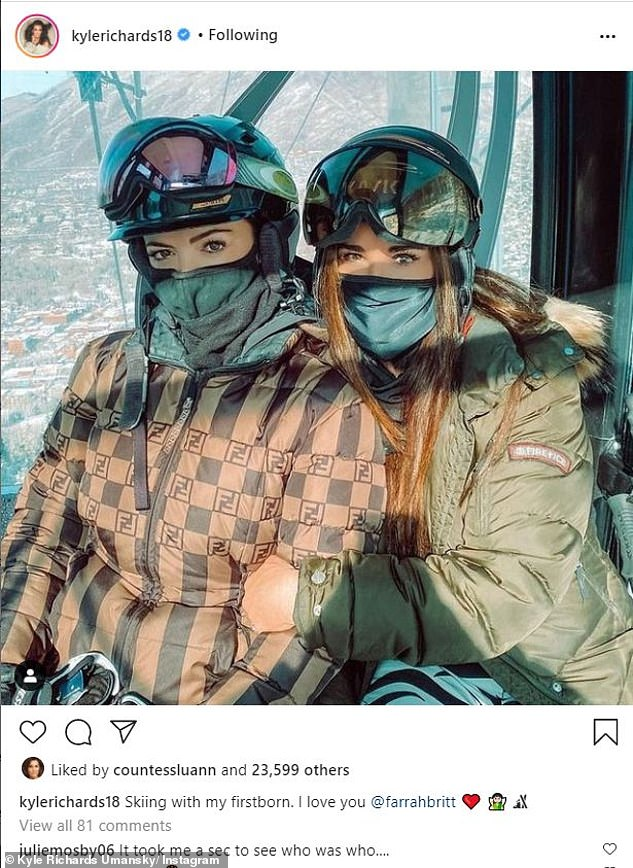 Mother–daughter outing:Earlier, she gave her fans a glimpse into her fun time on the slopes with a picture of herself and her oldest daughter Farrah on a ski lift